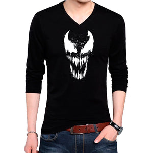8dc94e61b T Shirts for Men Venom Vector Design Cotton Black T Shirt V Neck Full Sleeve