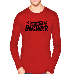 d4bfeb6a05c6 T Shirts for Men Naam Ka Engineer Texts Red Black T Shirt Round Neck Full  Sleeve