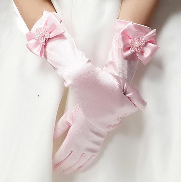 Childrens Mid Length Satin Gloves | Available in 5 colours!