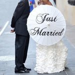 Romantic Just Married White Paper Umbrella 84cm