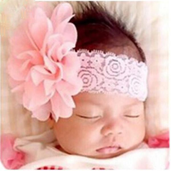 Infant Girls Solid Lace Flower Headband
