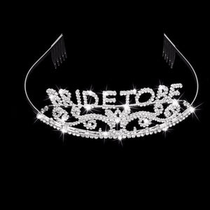 Bride To Be Bachelorette Glitter Crown Tiara