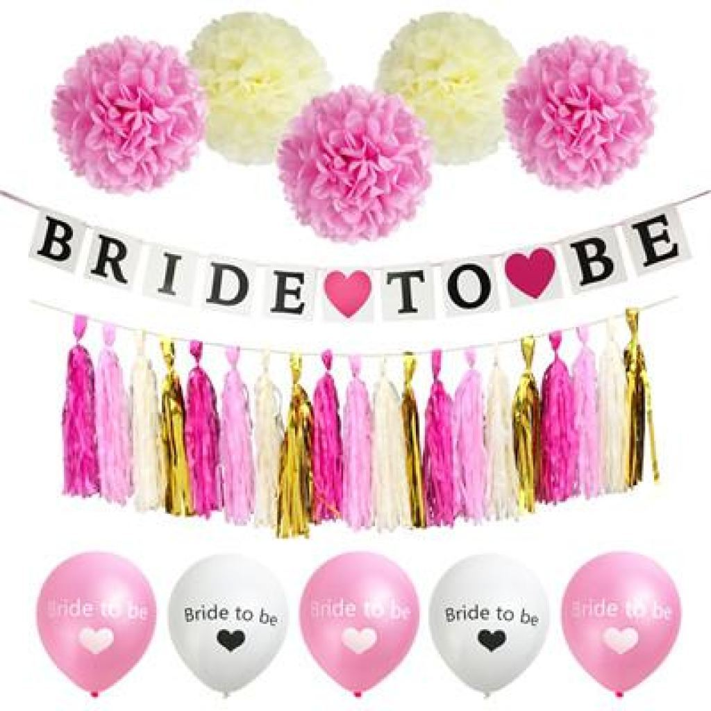Bride To Be Bachelorette / Shower Banner Paper Tassels Balloons Garland Party Decor Other Bridal Items