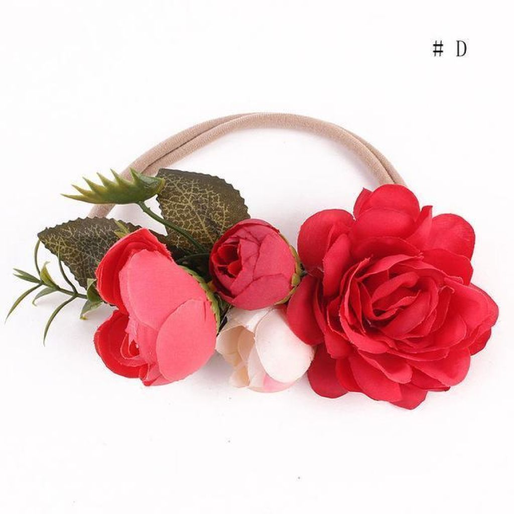 Pretty Flower Headband For Baby Girls & Toddlers / Toddler Hair Accessory. Red Floral Piece