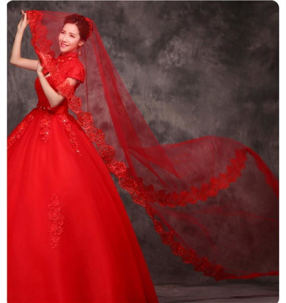 Elegant Lace Wedding Bridal Veil 3 Meters Long Red