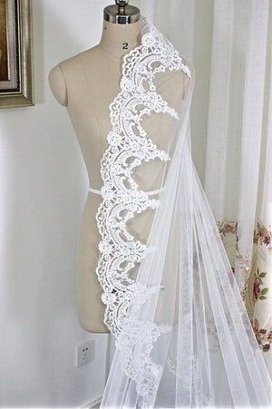 Long Cathedral 3 Meter Length Lace Edge Bridal Head Veil With Comb