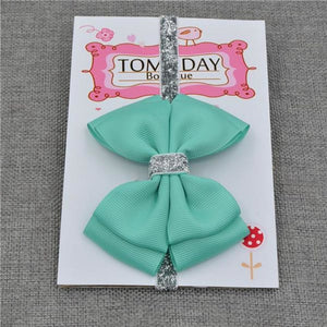 New Baby Hair Bow Headband With Silver Ribbon 21 / One Size