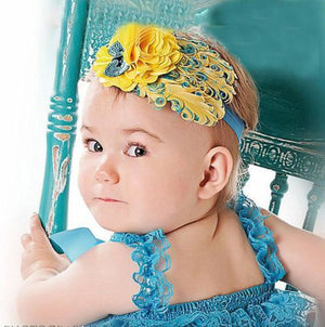 Hair Band Feather Flower Head For Baby Girl Or Infant 6 Headband