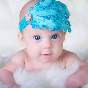 Hair Band Feather Flower Head For Baby Girl Or Infant Headband