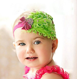 Hair Band Feather Flower Head For Baby Girl Or Infant 4 Headband