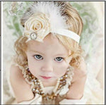 Feather & Flower Childs Elastic Headband White