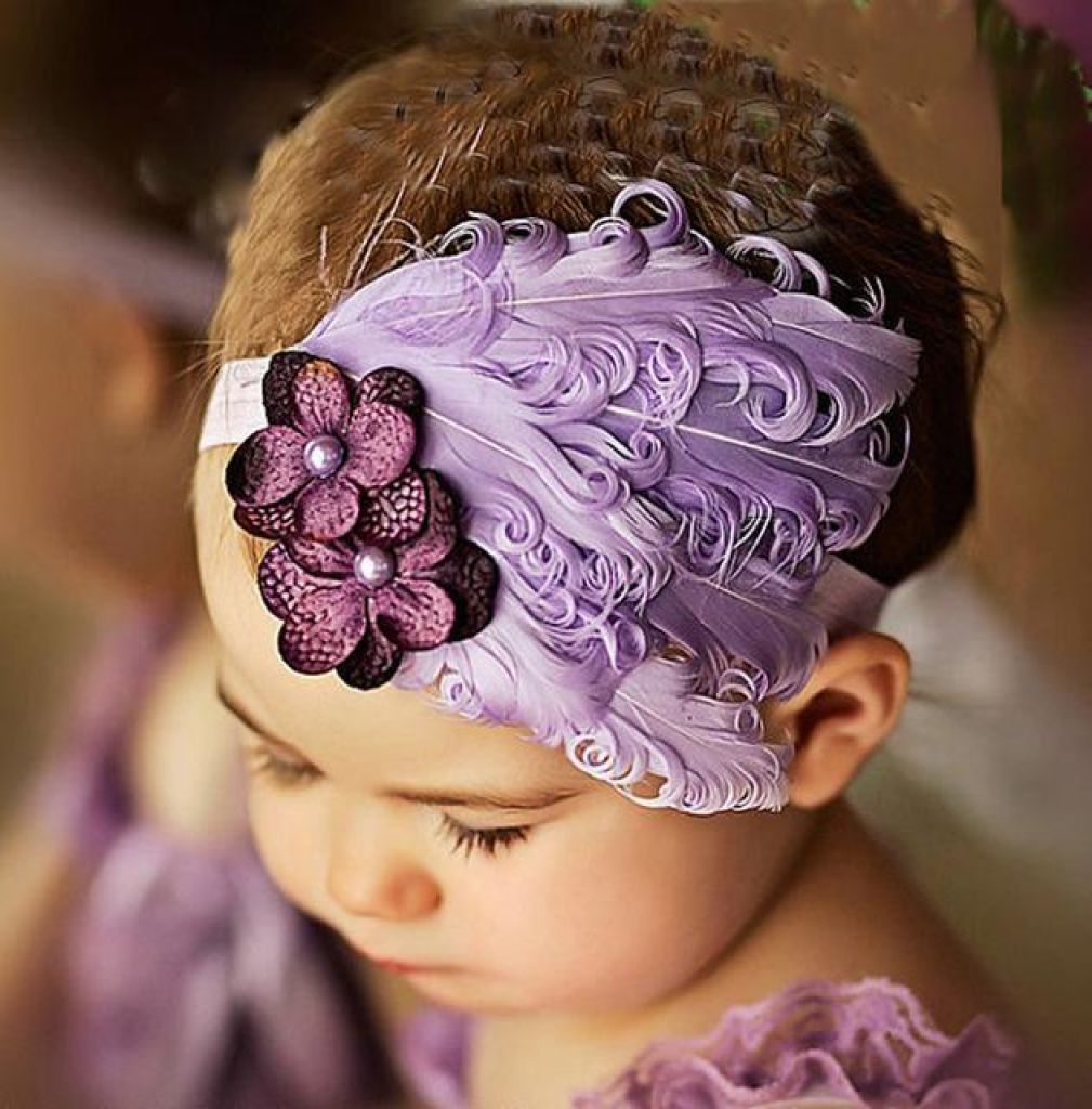Hair Band Feather Flower Head For Baby Girl Or Infant 1 Headband