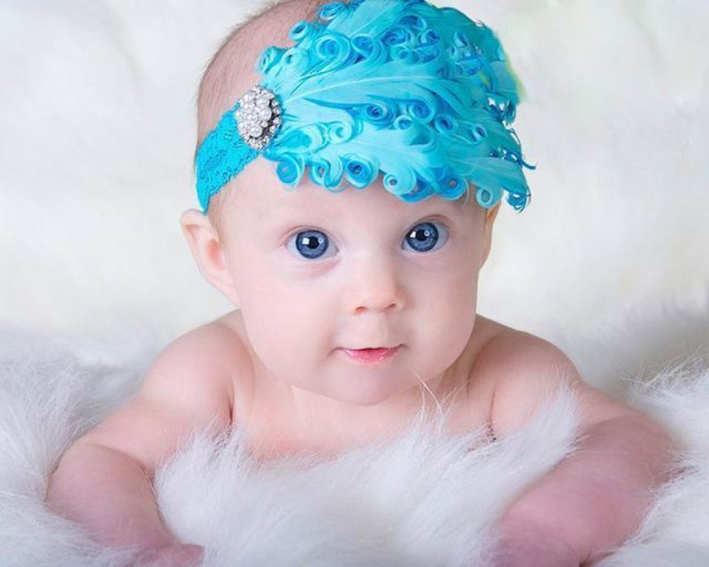 Hair Band Feather Flower Head For Baby Girl Or Infant 2 Headband