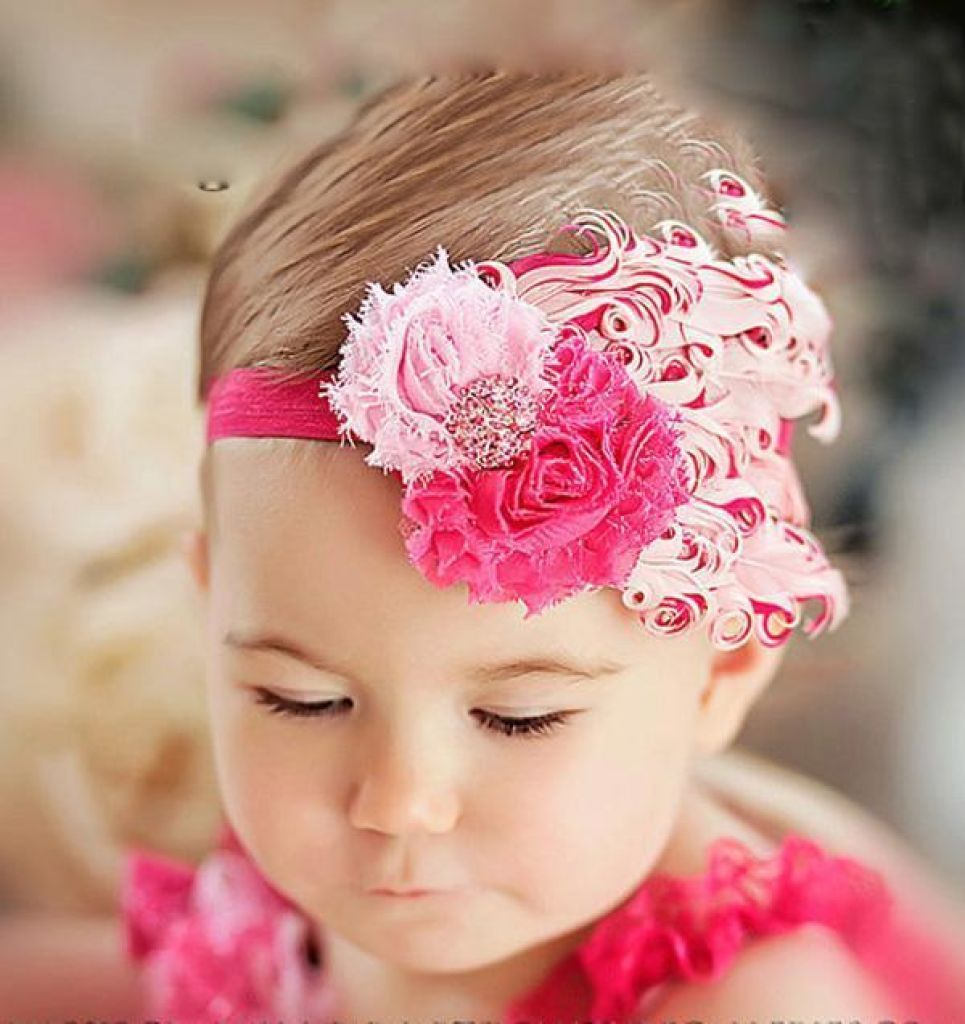 Hair Band Feather Flower Head For Baby Girl Or Infant 9 Headband