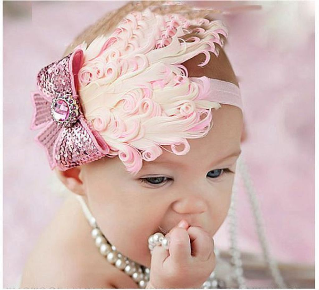 Hair Band Feather Flower Head For Baby Girl Or Infant 8 Headband