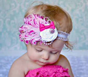 Hair Band Feather Flower Head For Baby Girl Or Infant 5 Headband