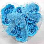 Heart-Shaped Rose Romantic Soap Flowers 9Pcs/box Blue Other Bridal Items
