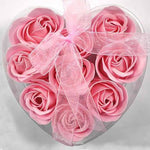 Heart-Shaped Rose Romantic Soap Flowers 9Pcs/box Pink Other Bridal Items