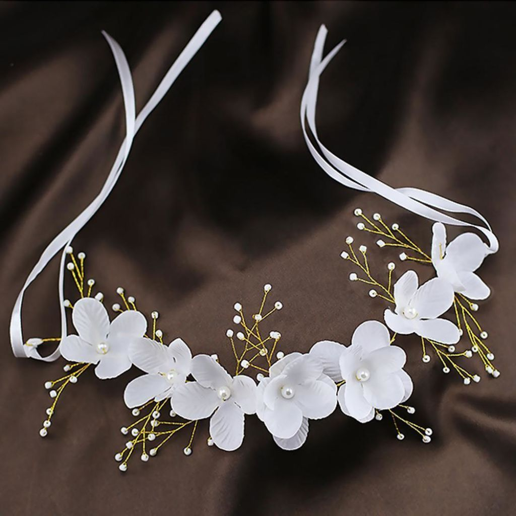 Bridal Lace Flowers & Pearl Tiara Crown Headband