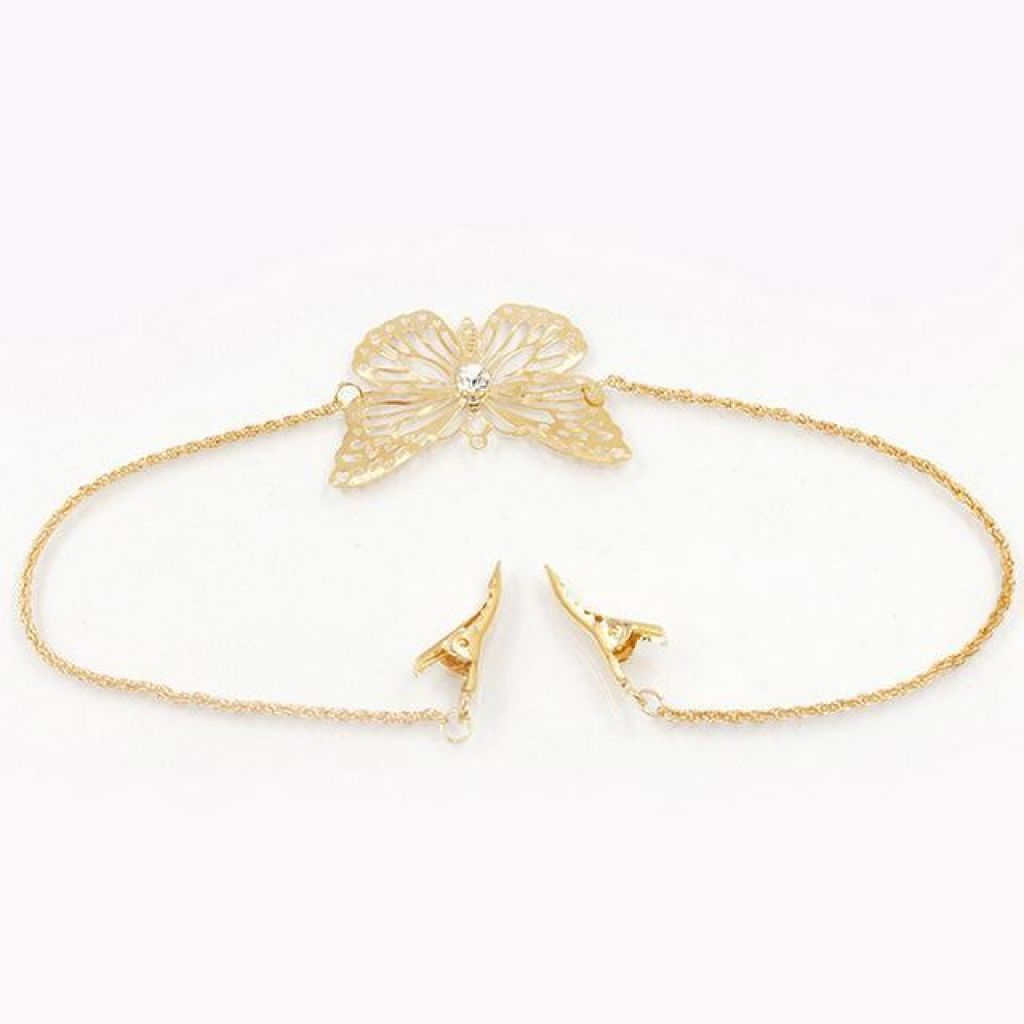 Unique Butterfly Or Leaf Hair Pin & Chain Combo
