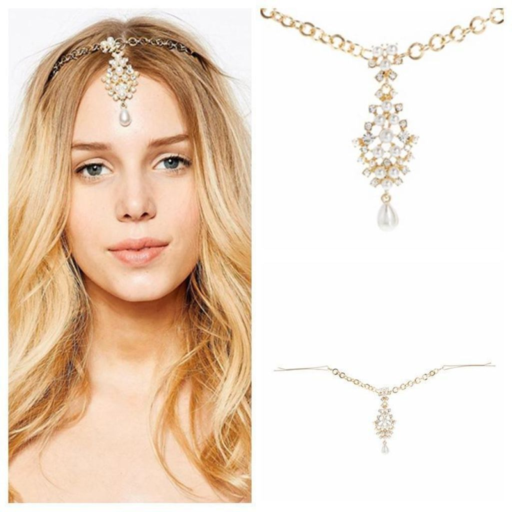 Chic Boho Rhinestone Forehead Rain Drop Hair Jewelry / Tiara Vine