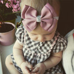 New Baby Hair Bow Headband With Silver Ribbon