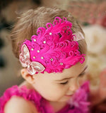 Hair Band Feather Flower Head For Baby Girl Or Infant 3 Headband