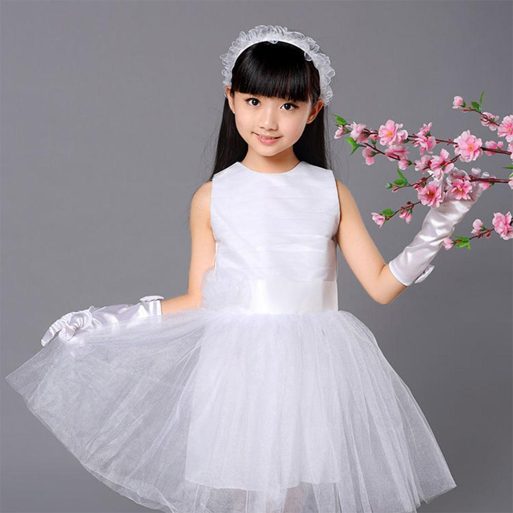Long Style Satin Kids Girls White Stretchy Gloves with Bow