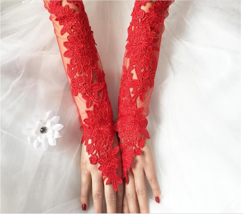 Long Elegant Lace Bridal Wedding Gloves with Appliques