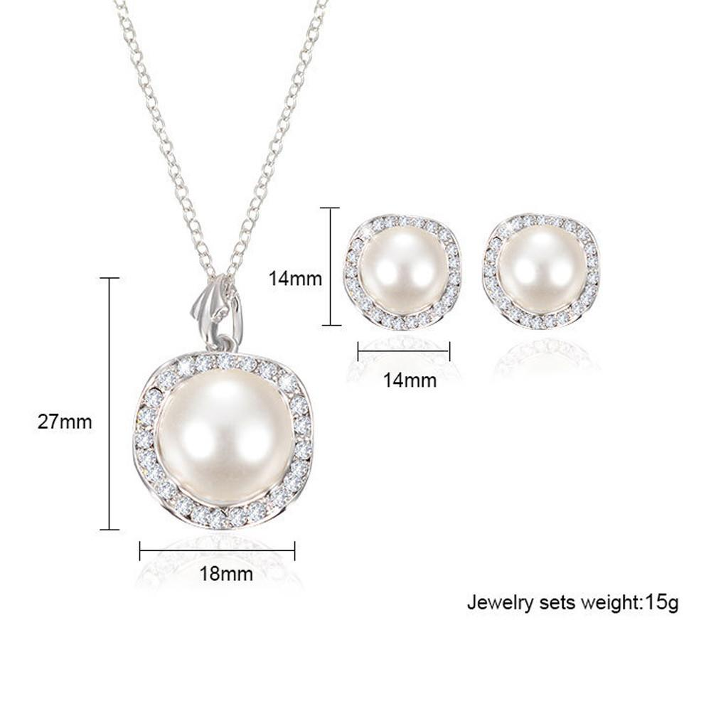 Silver Rhinestone Wedding Jewelry Set - Necklace & Earrings