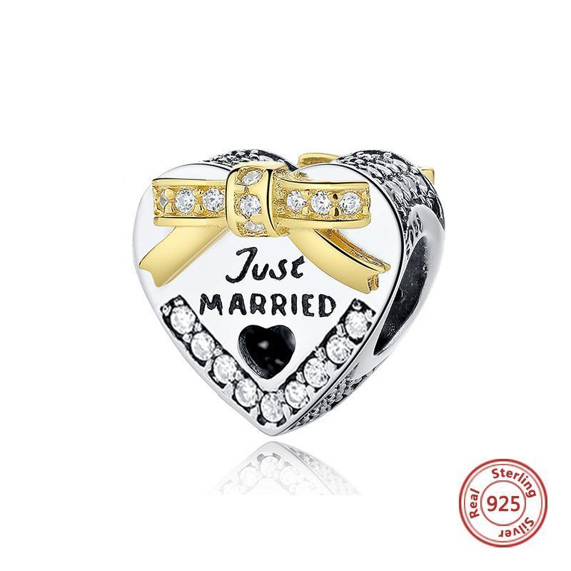 925 Sterling Silver JUST MARRIED Wedding Heart Shaped Charms