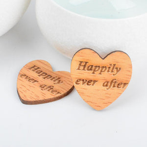Wooden Heart Shaped Happily Ever After Confetti 50pcs