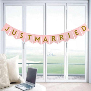 8 Pieces JUST MARRIED Banner & Foil Balloons