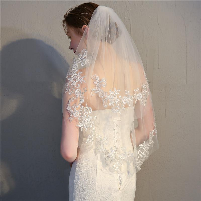 White/Ivory Lace Edge Short Wedding Veil with Comb