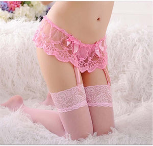 Wedding Garter Belt for stockings with Transparent Lace Garter Panty