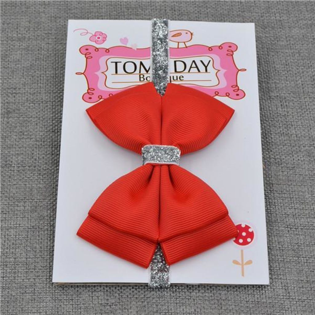 New Baby Hair Bow Headband With Silver Ribbon 17 / One Size