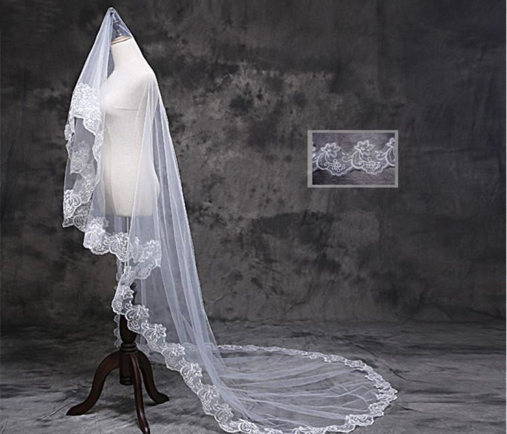 Elegant Lace Wedding Bridal Veil 3 Meters Long