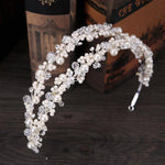 White Pearl & Crystal Bridal Tiara Silver Crown Headband yourweddinghairaccessories.com
