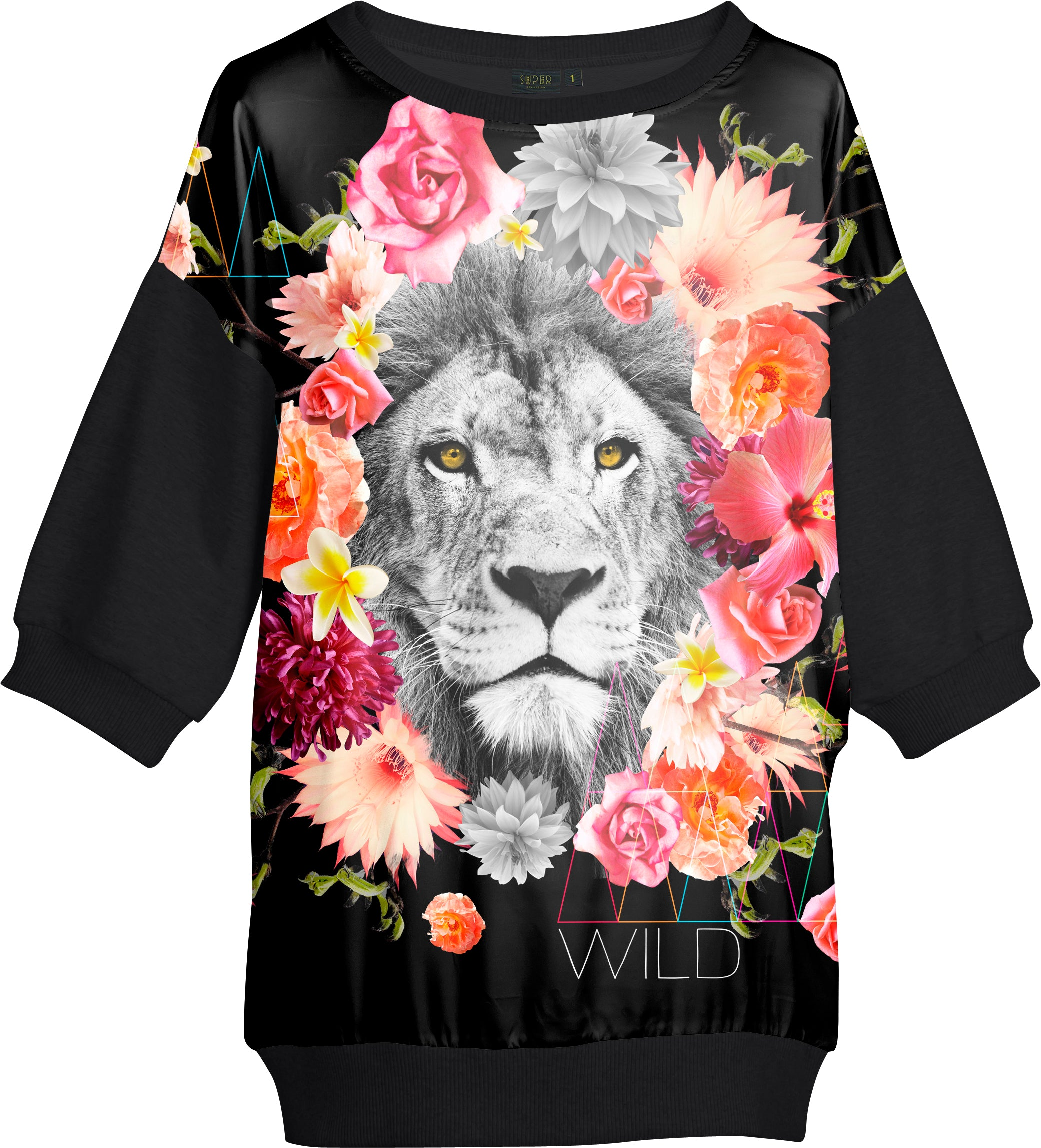 Sweat Large Lion Fleurs