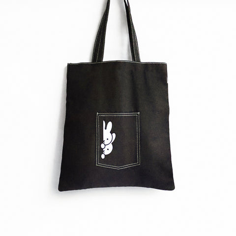 Miffy Black Denim Tote Bag Peek