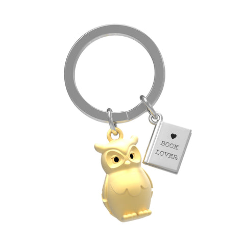 Keychain Gold Owl & Book