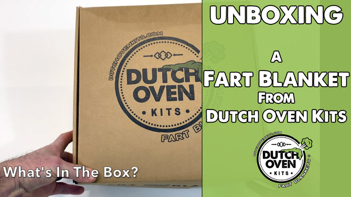 Video unboxing a Dutch Oven Fart Blanket Gift Box