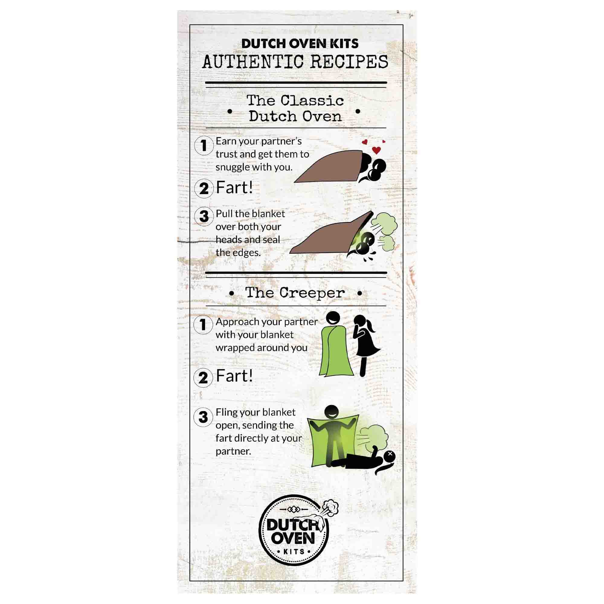 Picture of a Dutch Oven Kits Fart Recipe Card