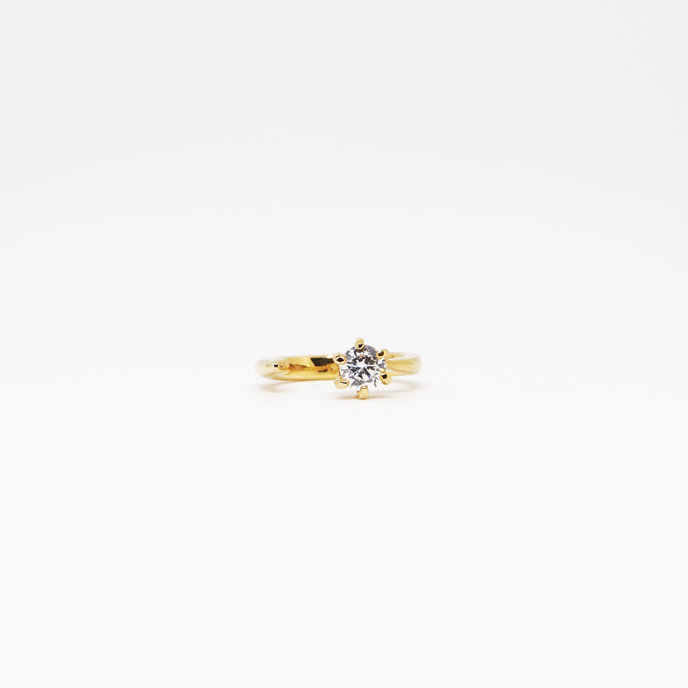Promise Ring - White Quartz - Gold