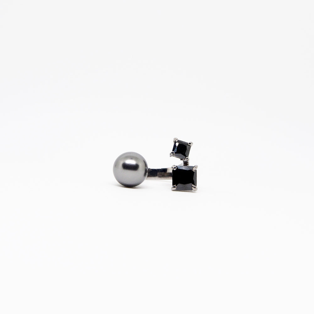 South Sea Ring - Black Quartz - Black