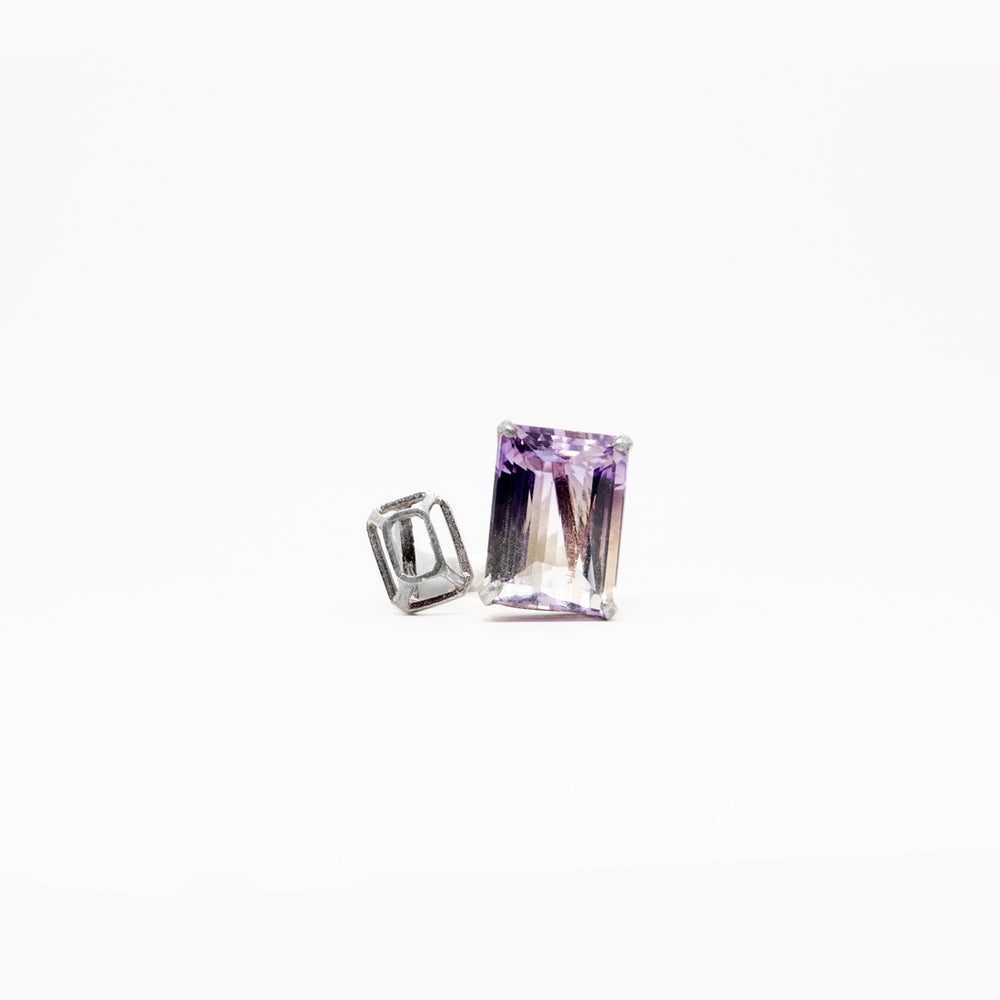 Square Ring - 2tone Amethyst - Silver