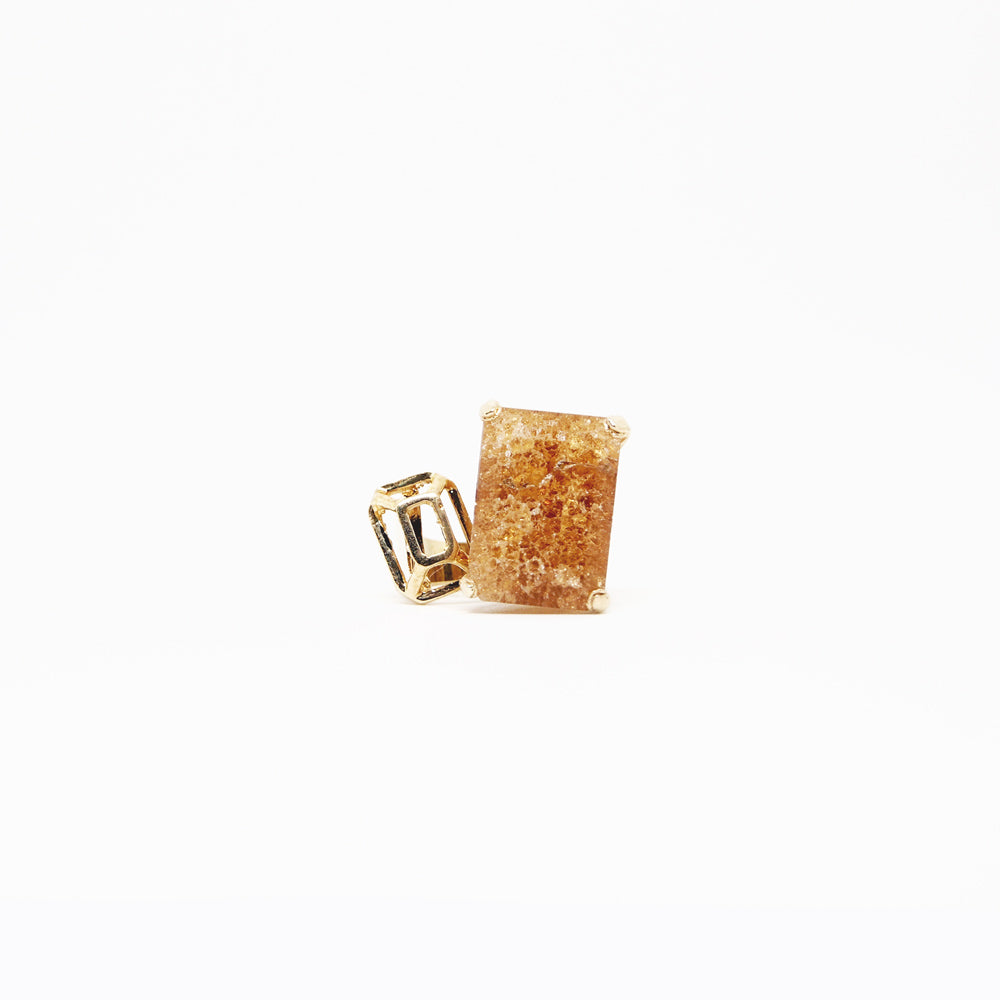 Square Ring - Smoky Snowflake - Gold