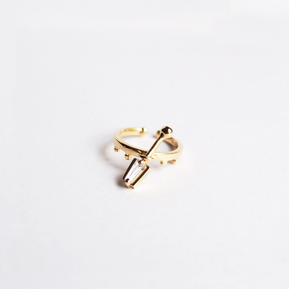 i Ring - White Quartz - Gold