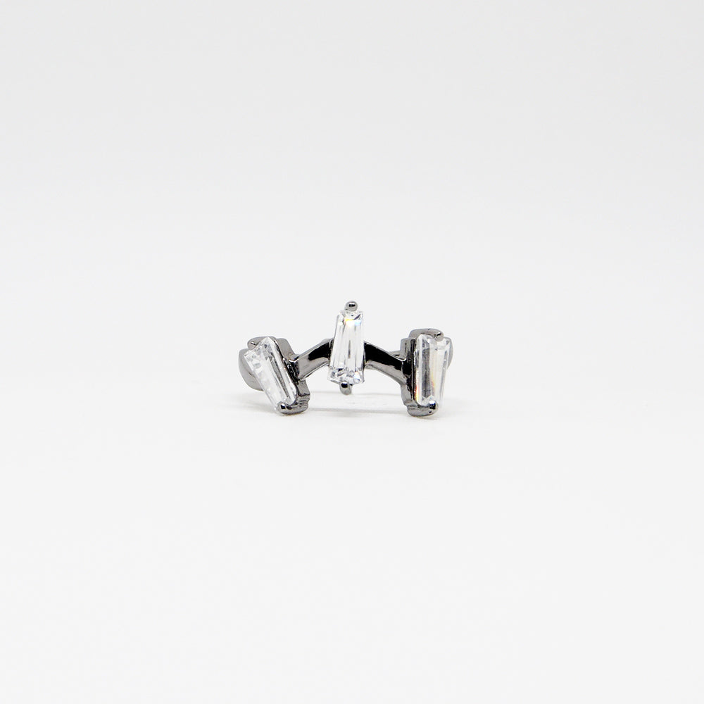 III Ring - White Quartz - Black