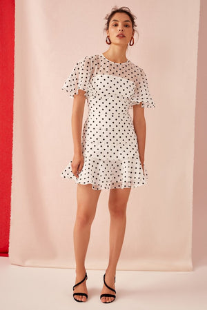 LIMITS MINI DRESS | IVORY W BLACK POLKADOT